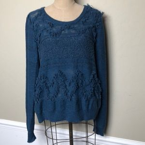 Anthropologie textured/fringe crew neck sweater